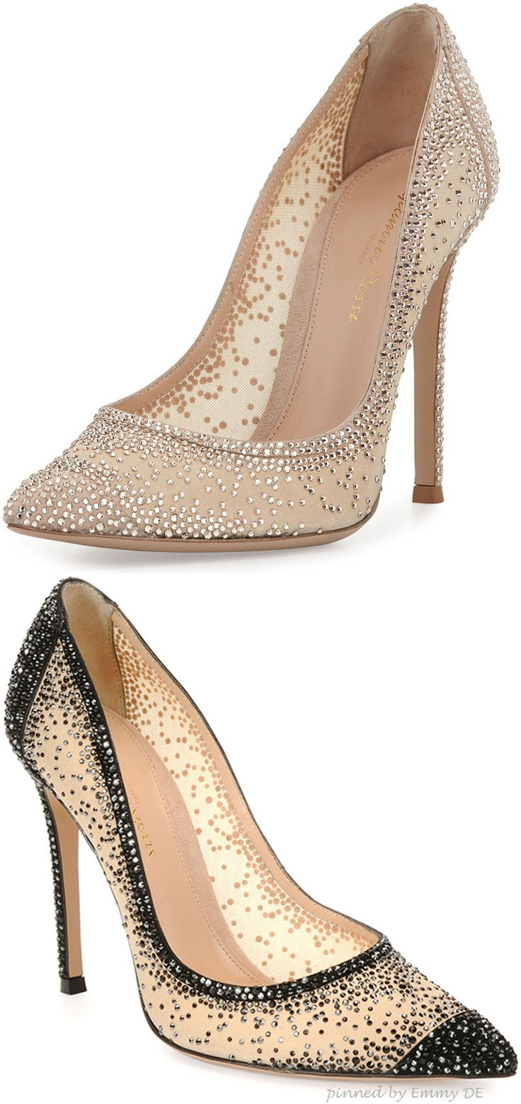 Emmy DE * Gianvito Rossi Crystal Mesh Point-Toe Pump