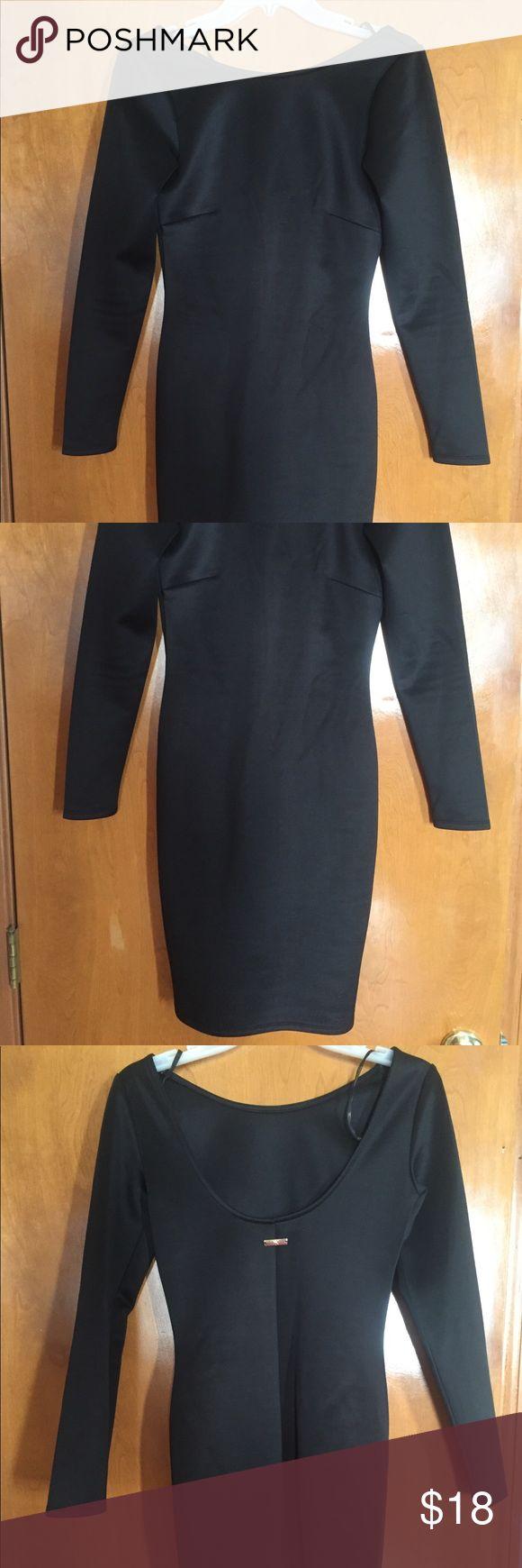 Kardashian kollection black dress Stretchy boat neck black midi dress- worn once Perfect little black dress Kardashian Kollection Dresses Midi