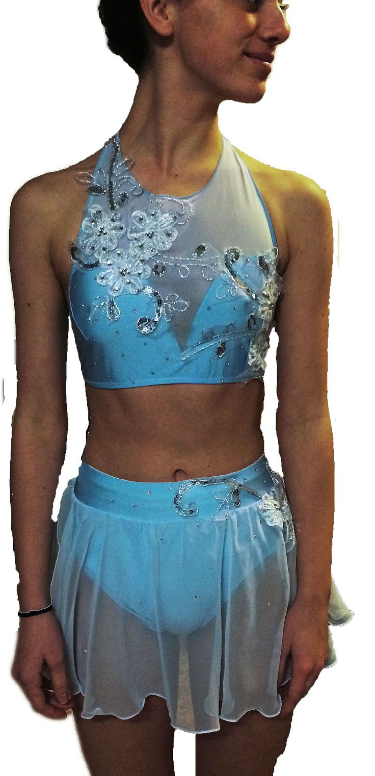 soft powder blue , white and silver lacework