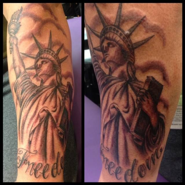 Statue of Liberty by A.R.T. Graduate Oksana Weber. Learn to tattoo like this. Click to find out how you can become a tattoo artist in Brooklyn.