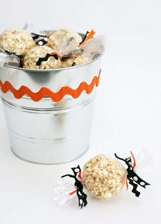 Popcorn Ball Party Favors Halloween Carnival at OneCharmingParty.com