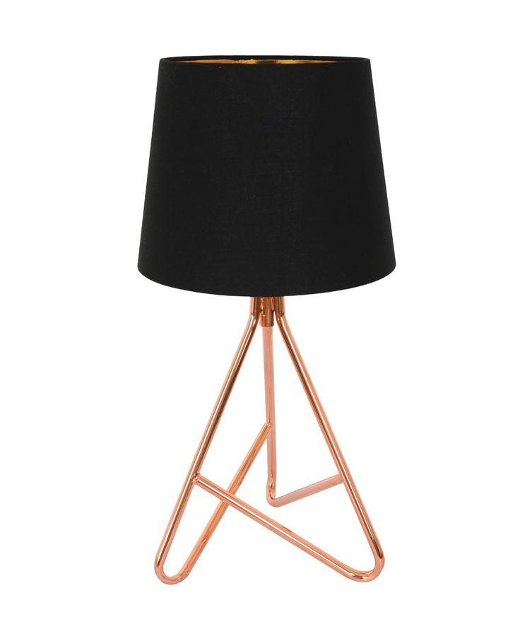 Hex Table Lamp in Copper/Black