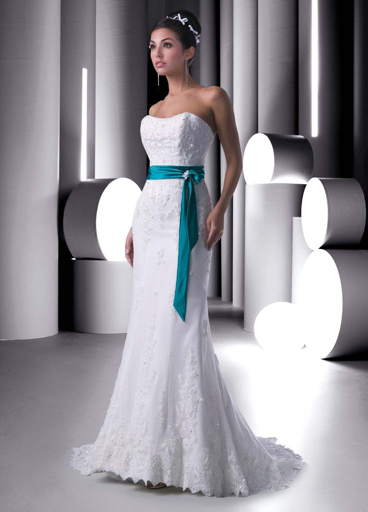 Cheap Bridal Shop Glamorous Strapless Turquoise Sash Beadings Lace&Satin Sweep Train Wedding Dress for Brides