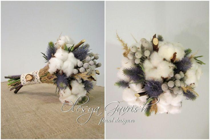 Олеся Гавриш - свадебная флористика и декор - Этот мягкий и уютный ... Зимний букет невесты с хлопком
