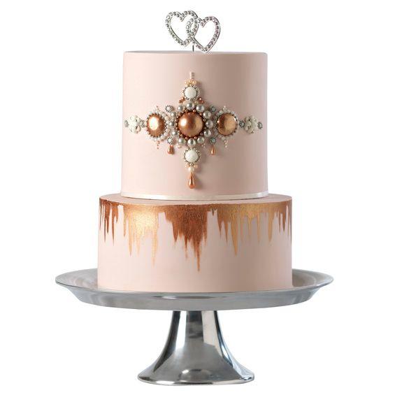 Gold Cake Decorations Uk : 14 best Rose Gold Wedding Cakes images on Pinterest Gold ...