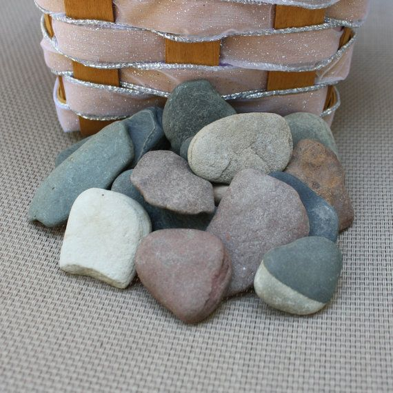 20 Flat Wishing Stones  Guest Book Stones  by LakefrontLiving