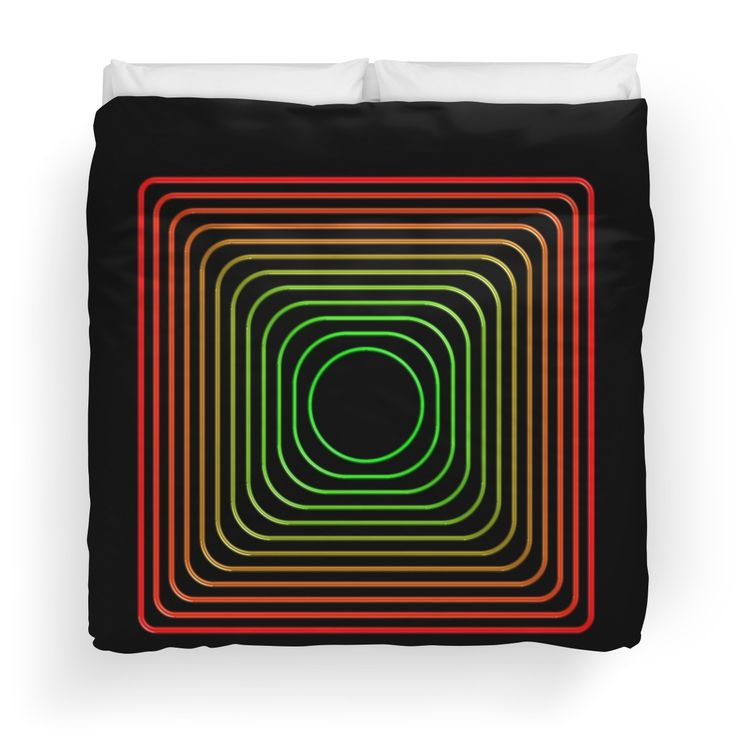 Rounded squares in red and green Duvet Covers