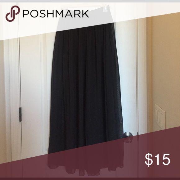 Pleated Chiffon Maxi Skirt Black Pleated Chiffon Maxi Skirt Love Culture Skirts Maxi