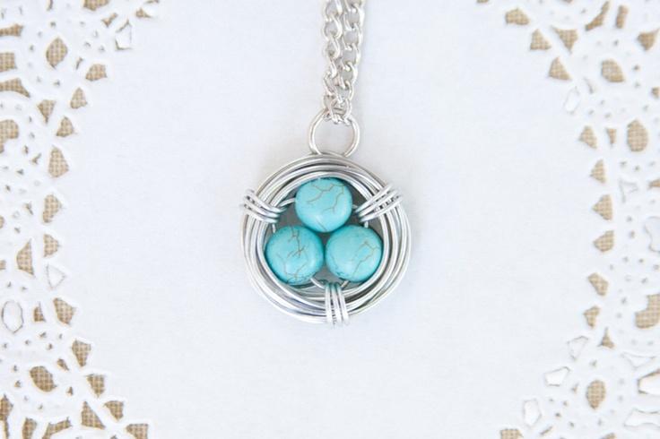 wire wrapped bird nest necklace robins egg by poppyandpine. $22.00, via Etsy.