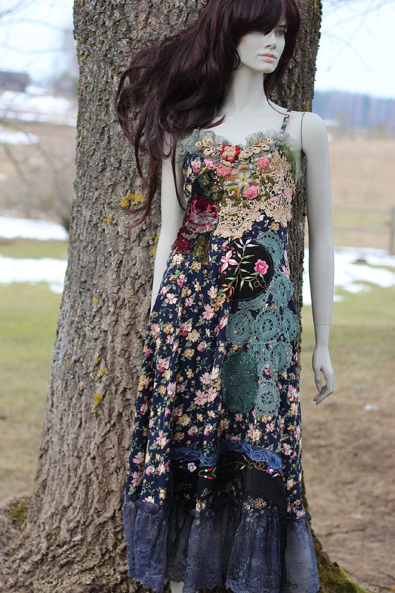 Lucinda dress  whimsy bohemian dress embroidered reworked