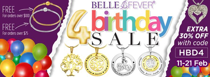 Belle Fever turns 4 today and to celebrate we are giving everyone a massive 30% off all items store-wide by using Code HBD4 at checkout & if that isn't great enough we are also giving everyone with orders over $75 a FREE Silver Charm bracelet or for orders over $100 can choose either the Gold or Rose Gold Charm bracelet. Sale ends 21st January. You can browse the website here - bit.ly/1LFYpVi  World-wide shipping
