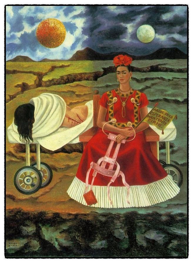 #4 Frida Kahlo < Tree of Hope (희망의 나무 굳세어라) > (1946) *이 그림은 프리다 칼로가 자신의 후원자인 에두아르도 모리요사파를 위해 그린 것이다. 프리다는 하얀 천으로 얼굴을 가린 채 병실 침대에 등을 돌리고 누워있다. 벌거벗은 그녀의 등에 수술 자국이 선명하다. 그녀는 차마 얼굴을 보여줄 수 없을 만큼, 등을 돌리고 누울 만큼, 끔찍한 고통을 겪고 있었지만 가혹한 운명에 굴복하지 않겠다면서 결의를 다진다. 또다른 프리다가 손에 쥐고 있는 깃발에는 '희망의 나무여, 굳세어라'라는 글이 적혀있다. 글은 당시 멕시코에서 유행한 가요의 가사를 빌려온 것이다. 프리다는 자신의 고통과 상처, 예술과 사랑, 희망과 절망을 자화상에 표현했다. 프리다는 자기암시를 주는 그림을 그리고, 일기를 쓰면서 47세에 세상을 떠날 때까지 예술혼을 불태웠다.