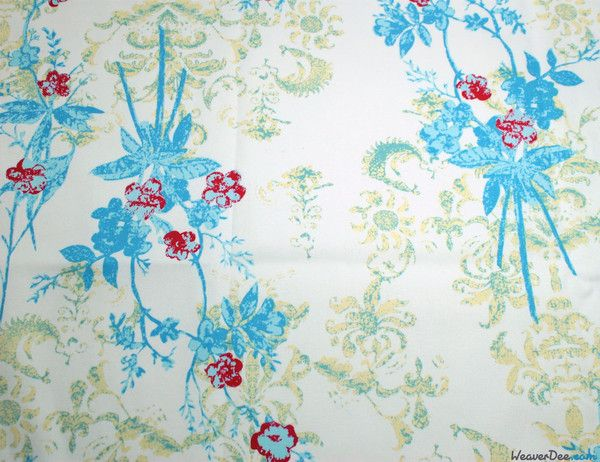 Blue / Red Sweet Florets Stretch Twill Fabric - WeaverDee.com