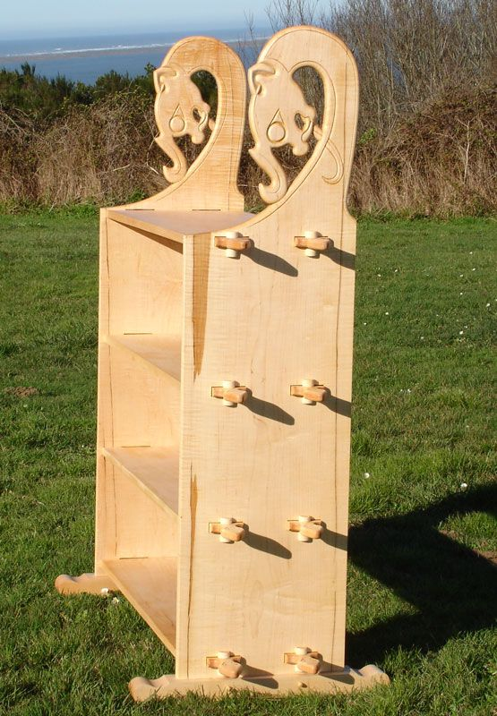 """Viking Encampment Shelving Unit"" from NordicArt.net - Not based on any extant piece, but gives a Norse ""feel"" to camp storage.  Uprights based on tent poles from Gokstad ship burial.  Comes apart flat for transport."