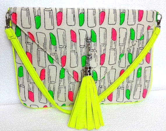 Trendy  Neon Clutch Purse Handmade Cotton by uDazzleSupplies