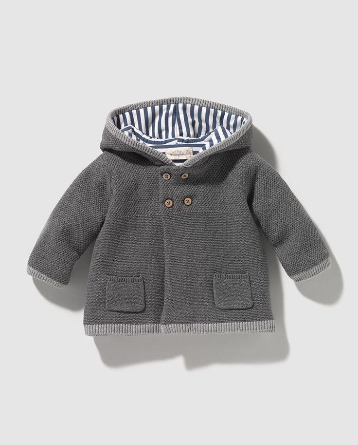 Chaqueta de bebé niño Brotes en gris con capucha