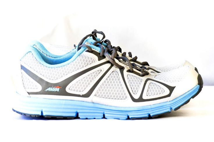 Avia Women Athletic Running Shoes A5613W White Silver Blue Mesh Leather size 10 #Avia #RunningCrossTraining