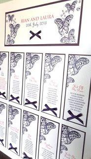 Butterfly themed tradition wedding table plan http://www.pinkshoesart.com  #cadburyspurple  #butterfly  #tableplan  #weddingstationery  #bespoke