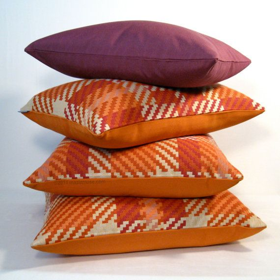 Luscious orange and purple plaid check pillows sewn in Sunbrella's Indoor Outdoor fabric - you'll never believe this is an outdoor fabric - SO soft! #mazizmuse #sunbrella #outdoorpillows #modern #outdoor #pillows #pillow #midcenturymodern