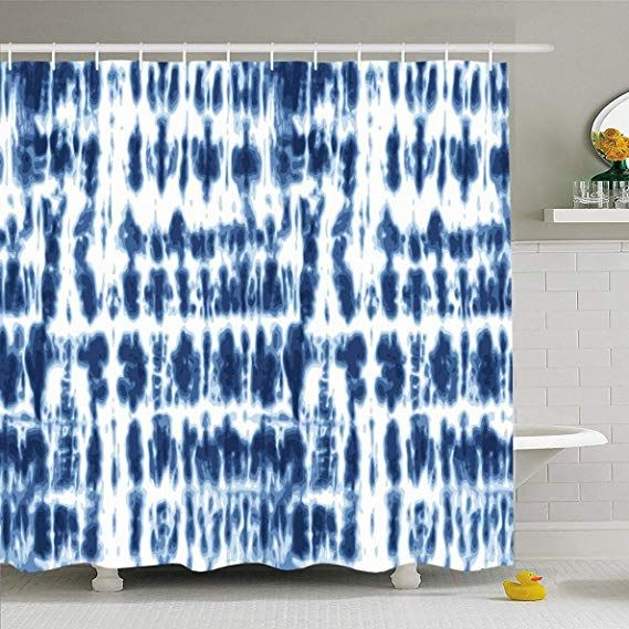 Ahawoso Shower Curtain 60x72 Inches Old Blue Batik Shibori