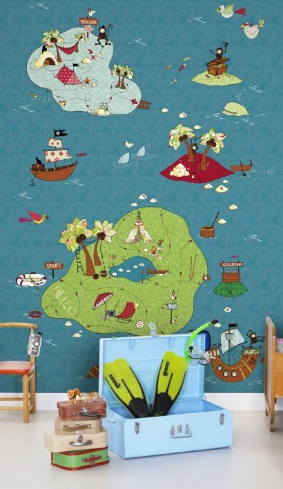 Stunning Fantasievolle Wandkarte Wandbild Treasure Map von Mr Perswall tapete weltkarte