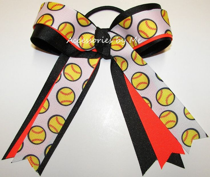 Softball Hair Bow, Ties, Accessories Wholesale, For Sale, Cheer Bows, Neon Bows, Girl Gift, Ponytail Ribbon Streamers, Team Mom Bulk Gifts by AccessoriesbyMe on Etsy https://www.etsy.com/listing/104855246/softball-hair-bow-ties-accessories