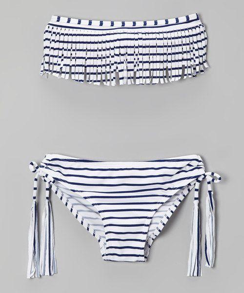 Take a look at the Black & White Stripe Fringe Bikini - Girls on #zulily today!