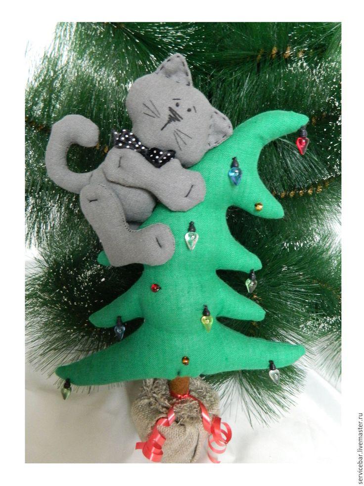 Купить Кот на елке, игрушка, ручная работа,подарок, Новый Год, котик, ёлка.