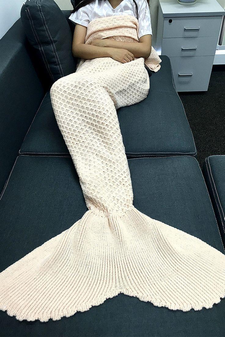$21.44 Simple Style Solid Color Knitting Rhombus Design Mermaid Tail Blanket