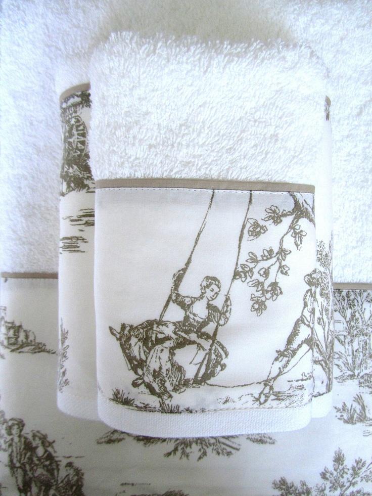 Juego de toallas de 3 piezas Colección Toile de jouy.