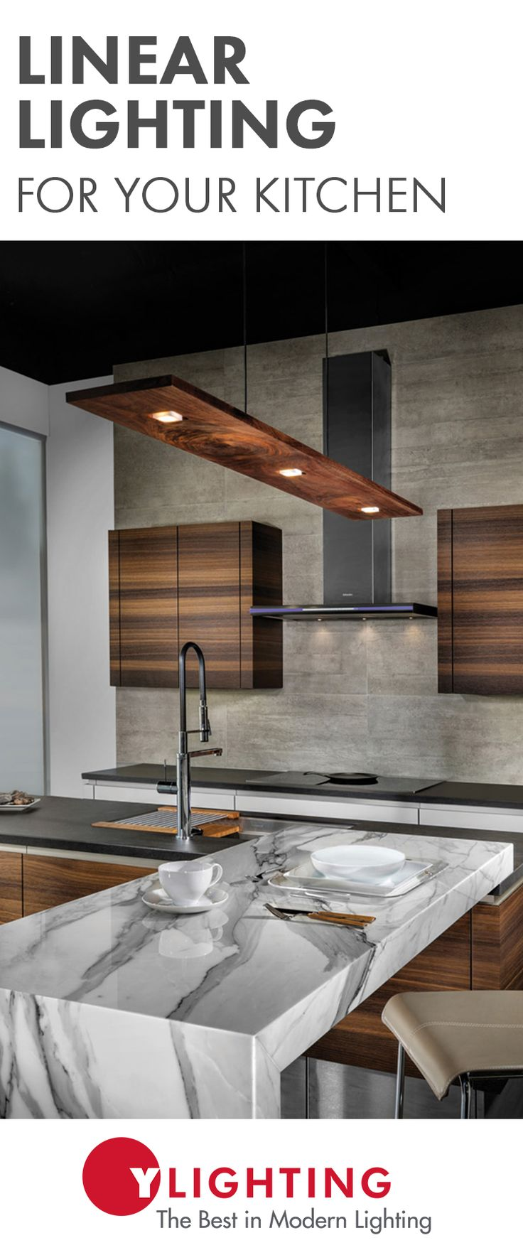 These modern linear lighting designs are bold enough to make a statement, while also providing form and function for all of your  kitchen tasks.