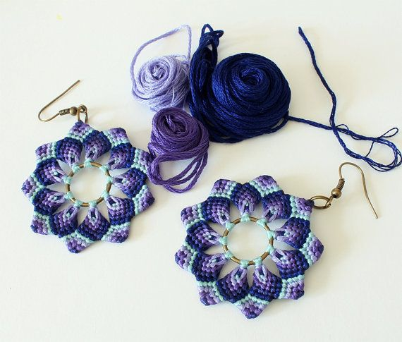 Blue violet mandala flower macrame earrings handmade boho hippie