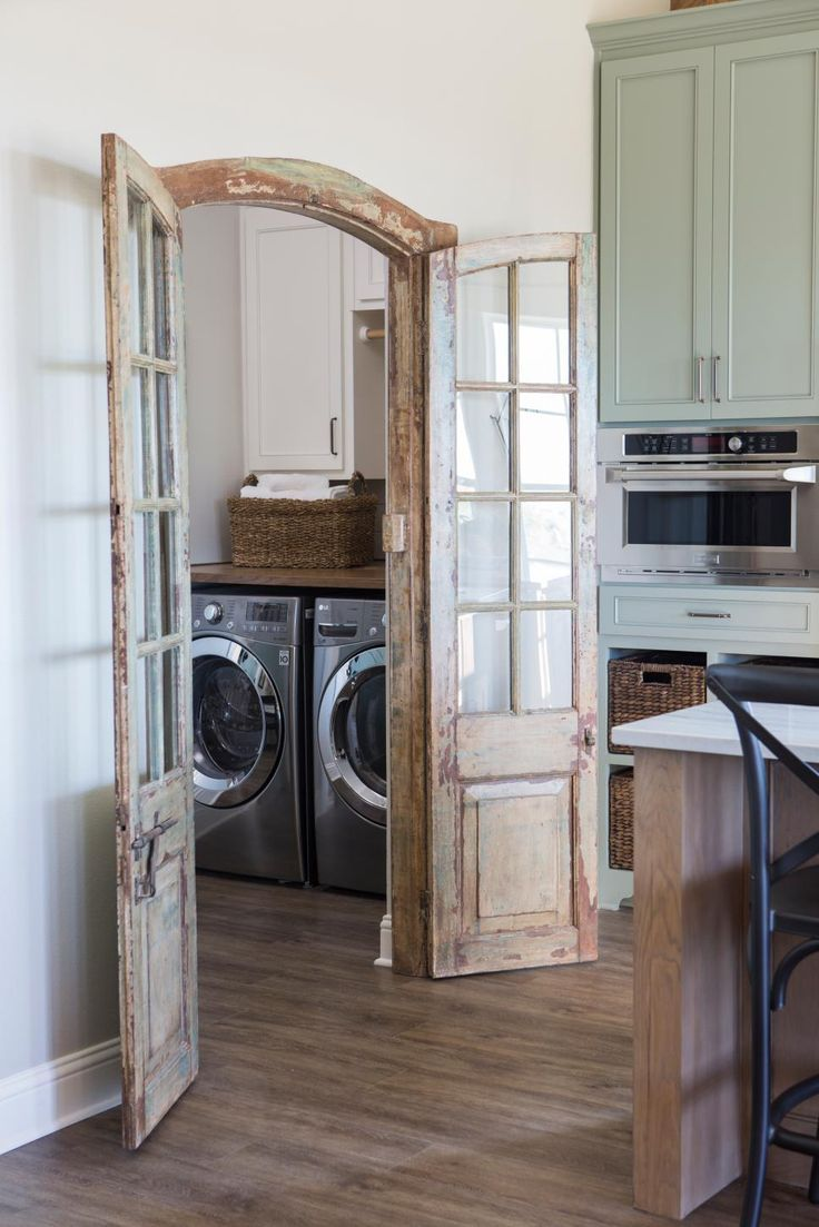 laundry room featuring antique doors