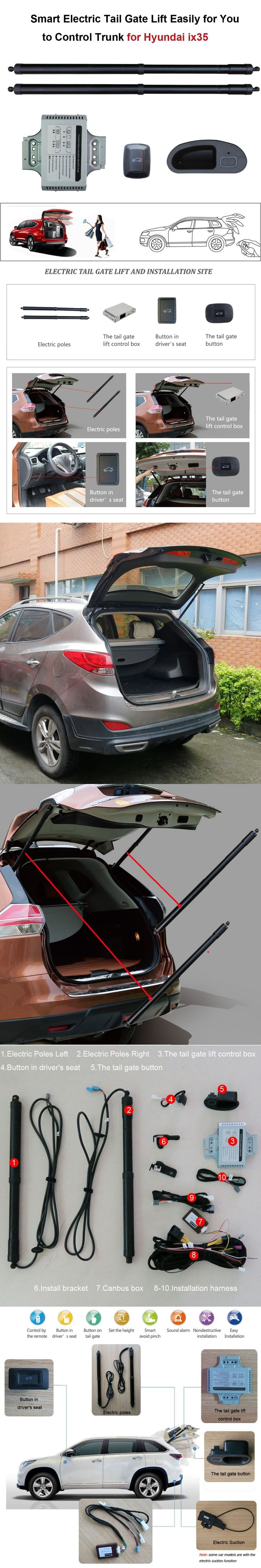 Smart Auto Electric Tail Gate Lift for Hyundai iX35 iX 35 Control by Remote Drive Seat Tail Gate Button Set Height Avoid Pinch