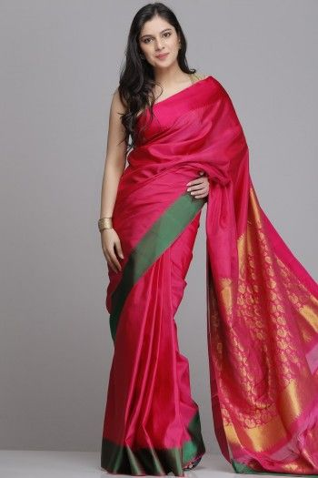 Pink Pure Silk Saree With Green And Pink Border And A Gold Zari Brocade Pallu & Blouse