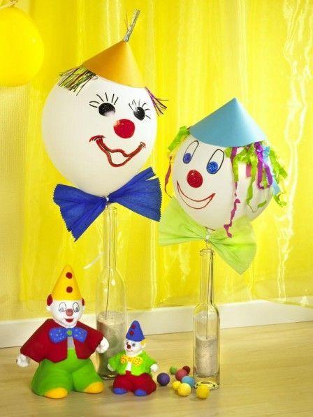 kinderfest mit dem motto zirkus luftballons mit clowngesicht basteln pinterest. Black Bedroom Furniture Sets. Home Design Ideas