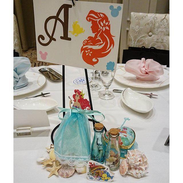 Instagram media junmiya6731 - 各テーブルの小物達✨ A卓はアリエル テーブルは貝殻も一緒に置きました(^-^) #結婚式 #テーマディズニー #テーブル装飾 #アリエル #プリンセス