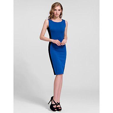 Sheath/Column Jewel Knee-length Cotton Semi - Formal Dress – USD $ 19.99