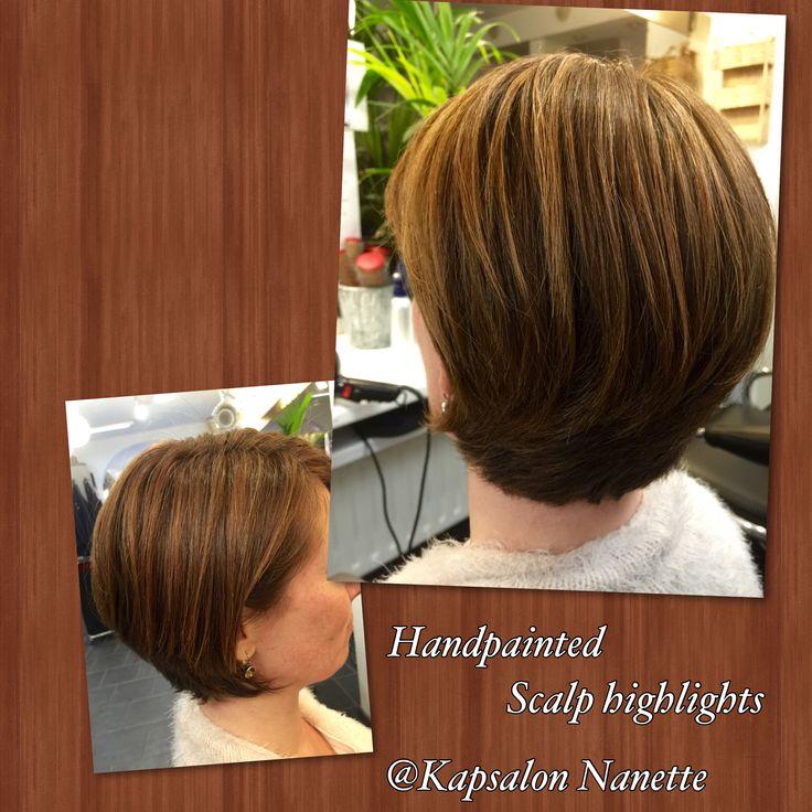 Handpainted scalp highlights and haircut@Kapsalon Nanette