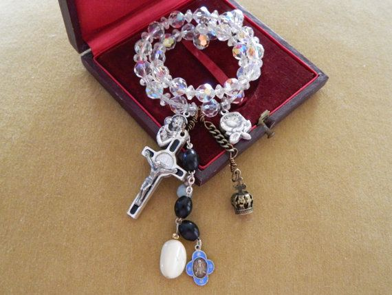 Upcycled Assemblage Bracelet Crystal Crucifix Charms by 58Diamond