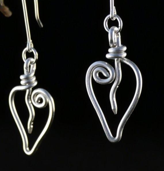 Sterling Silver Leaf or Heart Earrings on Etsy