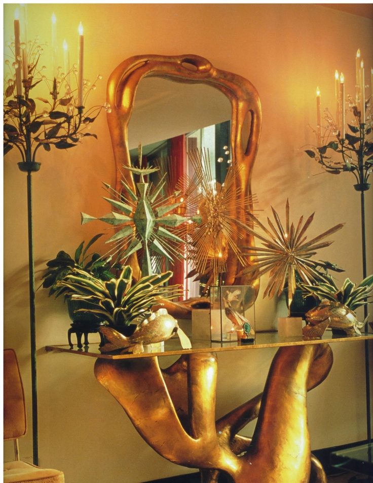 Fabulous Tony Duquette originally designed his biomorphic console and mirror for the Dumon residence in Bel Air in the mid