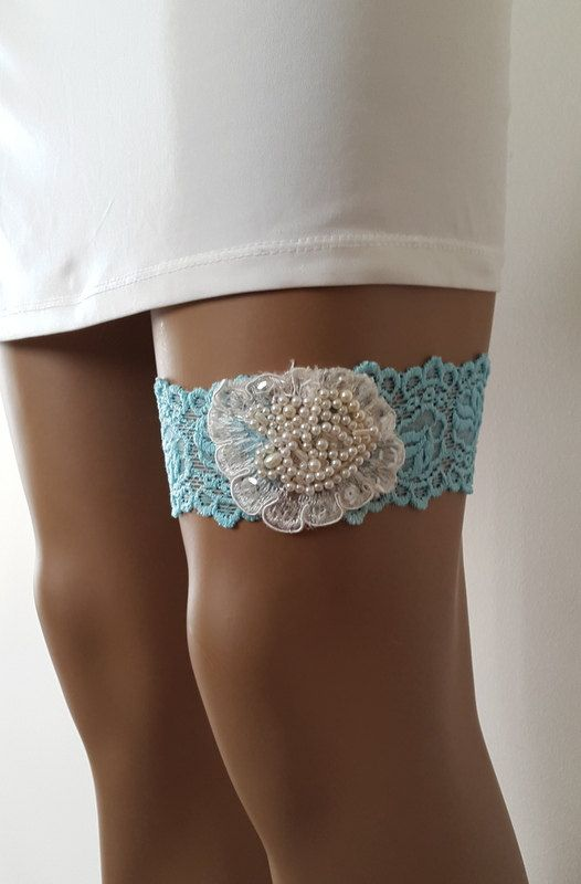 Hey, I found this really awesome Etsy listing at https://www.etsy.com/listing/295660251/toss-garters-ivory-blue-lace-wedding