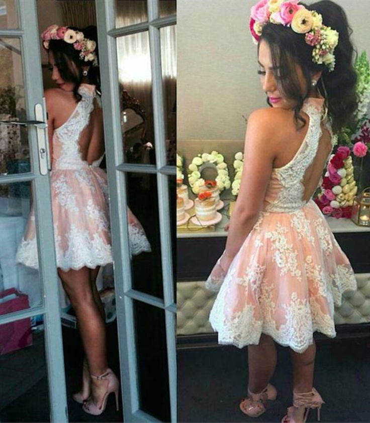 2017 New Sweety Short White and Pink Homecoming Dress Backless High Neck Lace Mini Party Gowns vestido de festa Custom