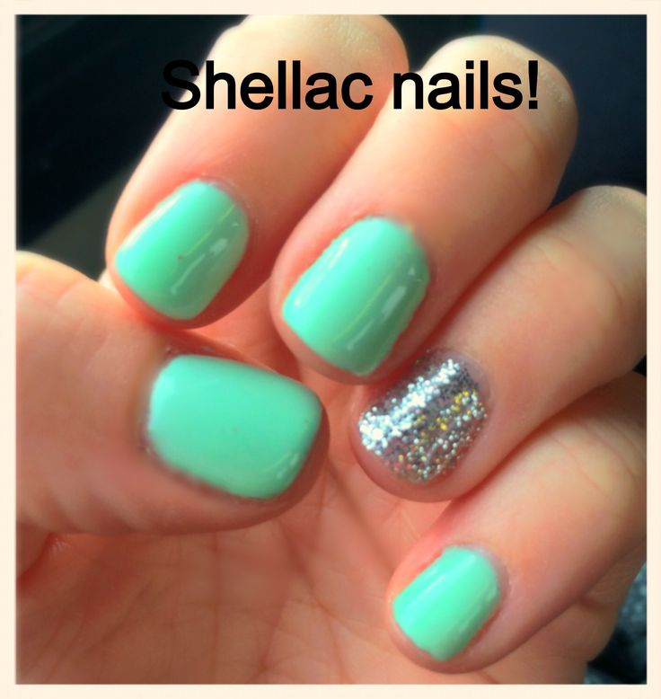 Cute summer shellac nails!!  Mint green with metallic glitter on ring finger!