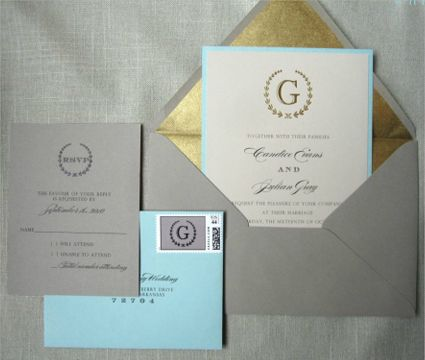 Invitación de Matrimonio en Gris y Dorado -- Fotografía: Sincerely Yours Paper Inc