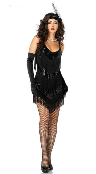 Sexy Old Fashioned Roaring 20s Honey Flapper Girl Costume Halloween Fancy party Dress Free Shipping @ZY516(China (Mainland))