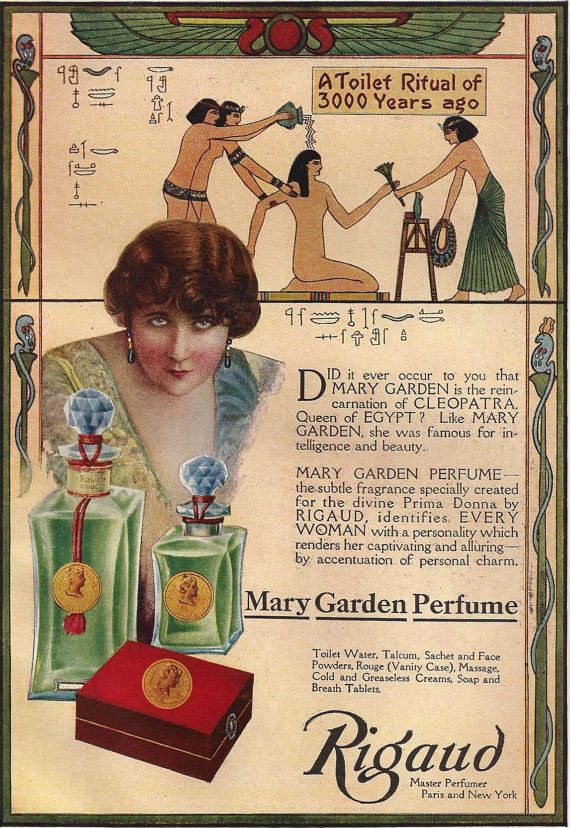 Vintage Perfume ad Mary Garden Cleopatra Egypt print Antique 1910s