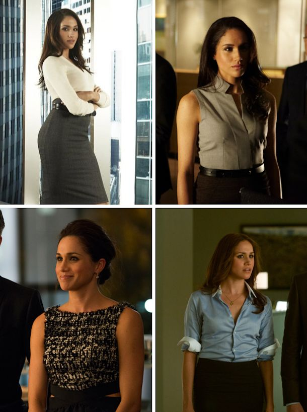 Suits on USA - Rachel Zane. A lot of high waisted numbers.