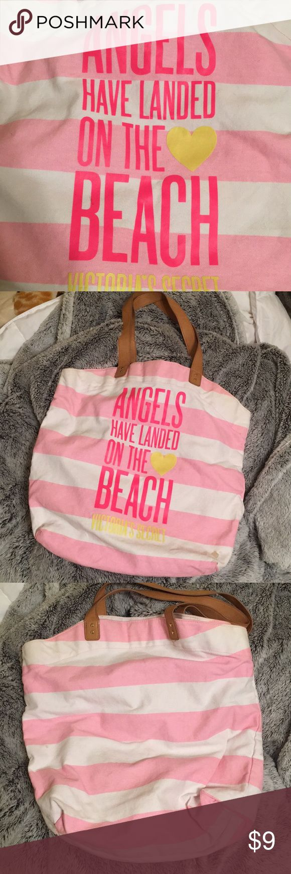 VS Beach bag! 🐠🌴🌸 Good condition! Very roomy - can fit a towel or 2, sunscreen, sunglasses, bottled water, anything you need for a relaxing day by the pool or beach 🏖 Summer's just right around the corner! Just 2 small stains but other than that it's very nice! Victoria's Secret Bags Totes
